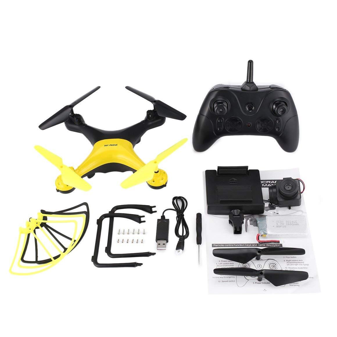Funnyrunstore X35SH 2.4G Selfie RC Drone Quadcopter Flugzeuge mit 720P HD WiFi FPV Kamera 20 Minuten Lange Flughöhe Hold Headless 3D Flip (schwarz + gelb)