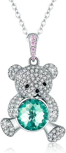 Mother's Day Teddy Bear Stud Earrings in Natural Diamond 925 Sterling Silver