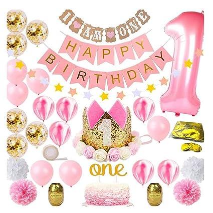 Amazon.com: Kit de decoración para primer cumpleaños, diseño ...