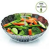 : Stainless Steel Vegetable Steamer Basket By LyftChef: Metal Instant Pot Food Steamer, Strainer Insert For Veggies, Eggs, Fruit–Expandable Multifunction Steaming Pot – Julienne Peeler Included