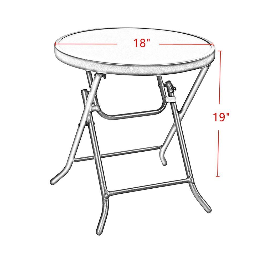 Captiva Designs 18'' Patio Small Side Table-Little Folding Glass Table, Clear by Captiva Designs (Image #2)