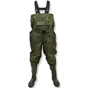 Unisex PVC  Fishing jumpsuit Waders Rubber Boot Foot Waders Cleated Sole Rompers
