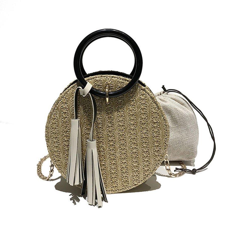 BULABULAkkk Paquete bolso de hombro moda pequeña paja cadena simple bolsa de mensajero, Amarillo