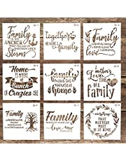 Decorative Family Letter Stencil Templates Reusable Painting Stencils for DIY Crafts Scrabooking Painting on Wood,Canvas,Floor,Wall and Tile (5.9 x 5.9 Inch),Set of 9