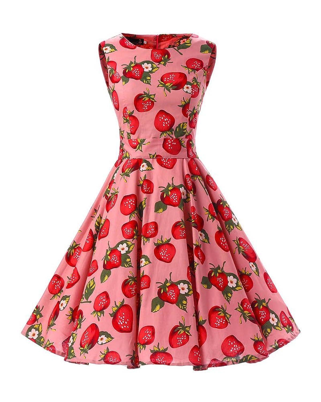 SaiDeng Damen Hepburn Stil Ärmellos Garten Partei Picknick Kleid