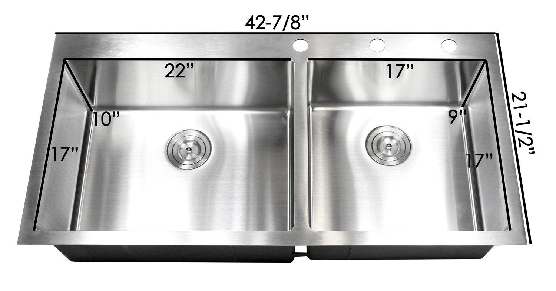 43 Inch Drop In Topmount Stainless Steel Super Sized Kitchen Sink 16 ...
