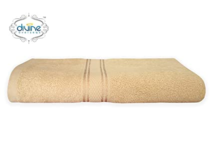 Divine Overseas 4 Piece Soft & 100% Pure Ringpsun Cotton Men Bath, Women Bath & Hand Towel Set with GSM 425 (CRS) (1 Pcs Ladies Bath Towel, Golden)