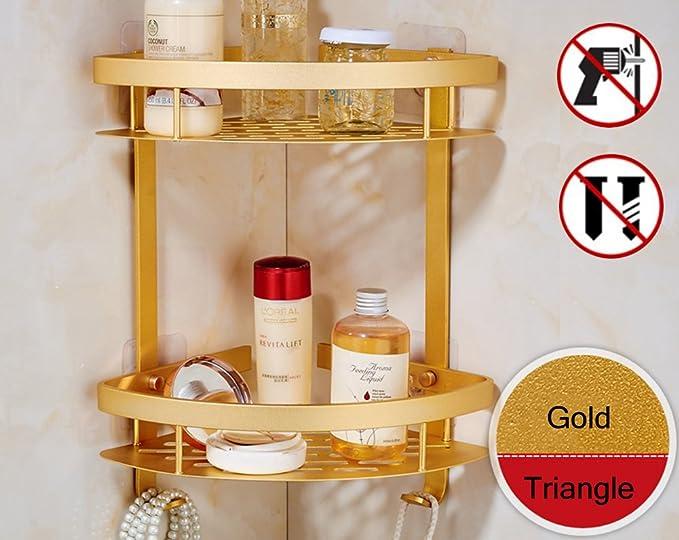 Estantería esquinera de dos pisos para baño con adhesivo - con cesta de aluminio para guardar toallas y otros artículos de baño - organizador triangular de ...