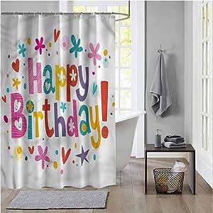 ScottDecor Birthday Modern Shower Curtains for Bathroom Daisies Cheer Greeting Modern Home Bathroom Decorations W78 X L72 Inch