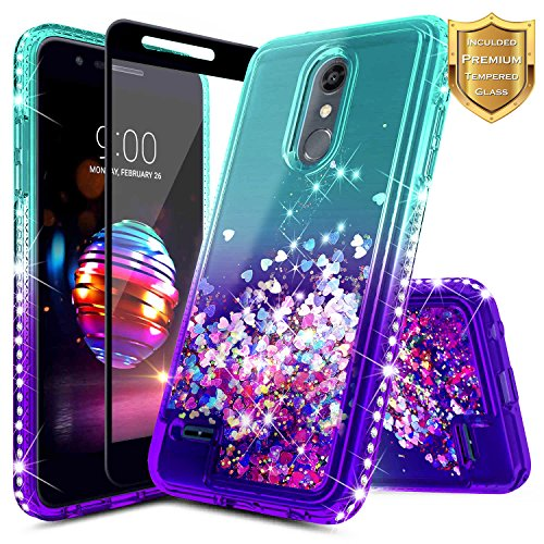 LG K30 Case, Xpression Plus/Premier Pro/Phoenix Plus /K10 2018 /Harmony 2 w/[Tempered Glass Screen Protector], NageBee Glitter Liquid Quicksand Waterfall Flowing Sparkle Diamond Cute -Aqua/Purple