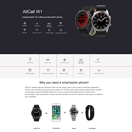 AllCall W1 SmartWatch Phone Android OS 1 IMEI Bluetooth 4.0 ...