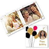 Clixicle Personalized Flip Photo Book Album - Birthday Red Black Balloons, 20 pages, 6in x 6in