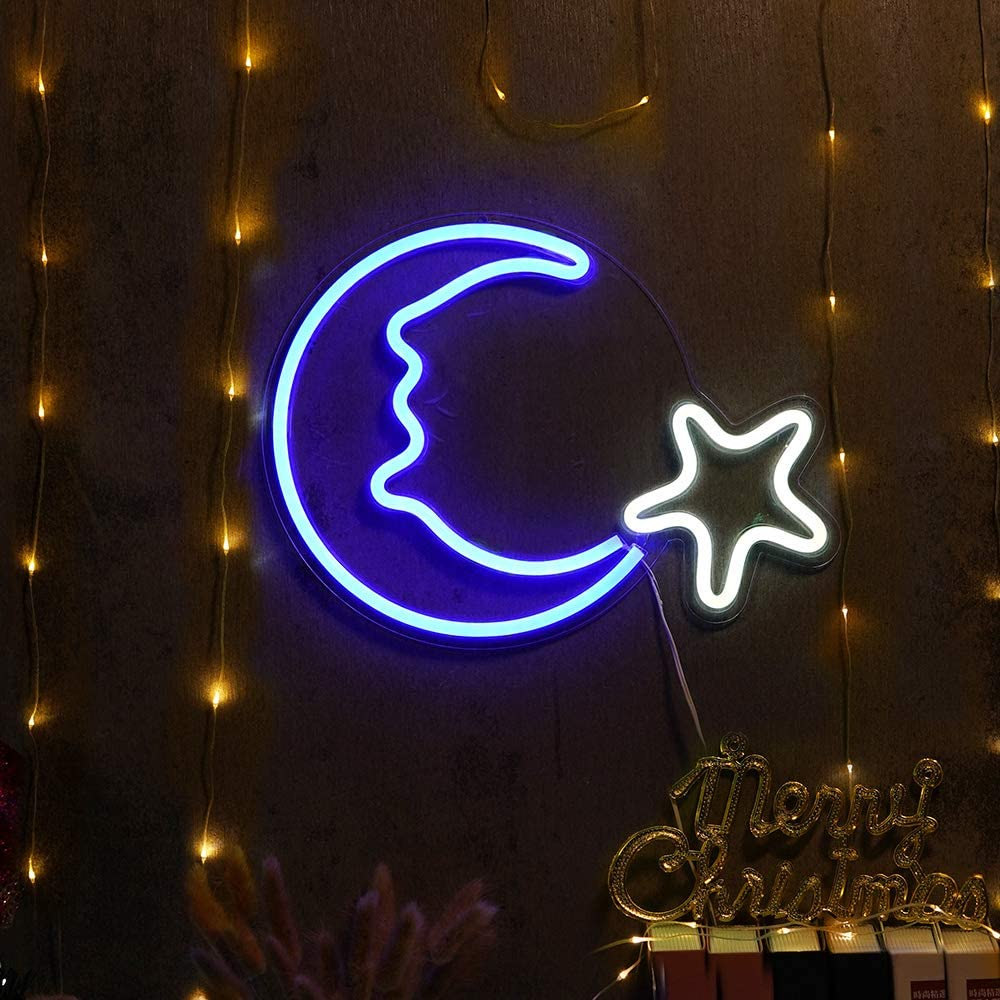 15 Led Moon Star Shaped Neon Signs Decor Wall Decor Art Sign Light For Home Decoration Bedroom Lounge Office Wedding Christmas Party Operated By Usb Amazon Com