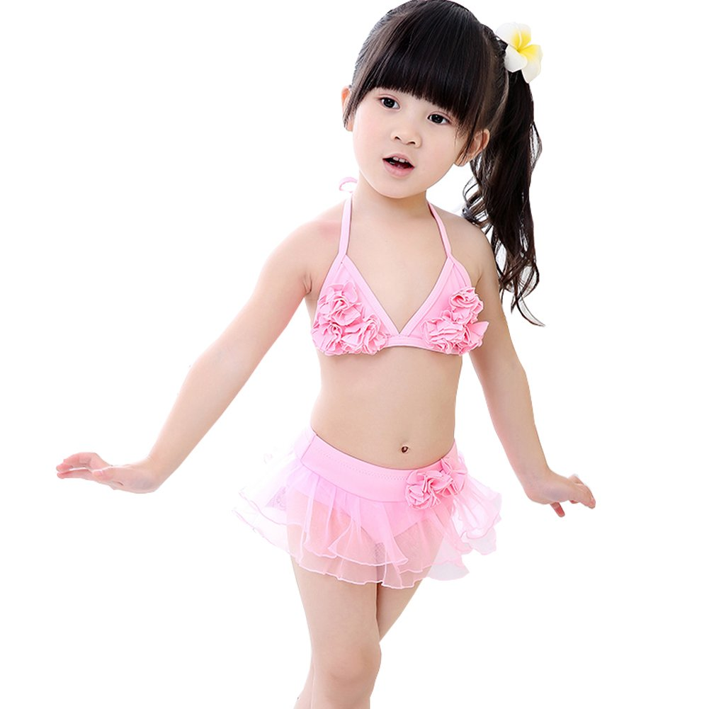 Pink Petals Little Girls Swimsuit Kids Two-Pieces Bikini Swimwear 5T Pink Kylin Express