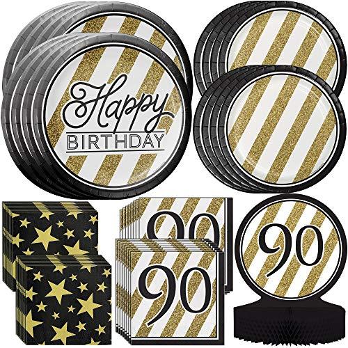 90th Birthday Plates - Creative Converting Black & Gold 90th