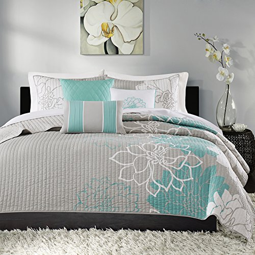 Madison Park Lola Full/Queen Size Set-Aqua, Grey, Floral, Flowers - 6 Piece Sateen, Cotton Poly Crossweave Bed Quilted Coverlet (Quilts Coverlets Aqua)