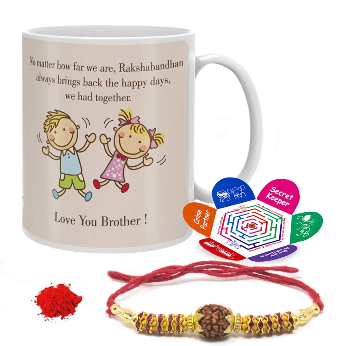 2 of Indigifts Raksha Bandhan Gift Set Of Mug 330 Ml, Crystal Rakhi For Brother, Roli, Chawal & Greeting Card
