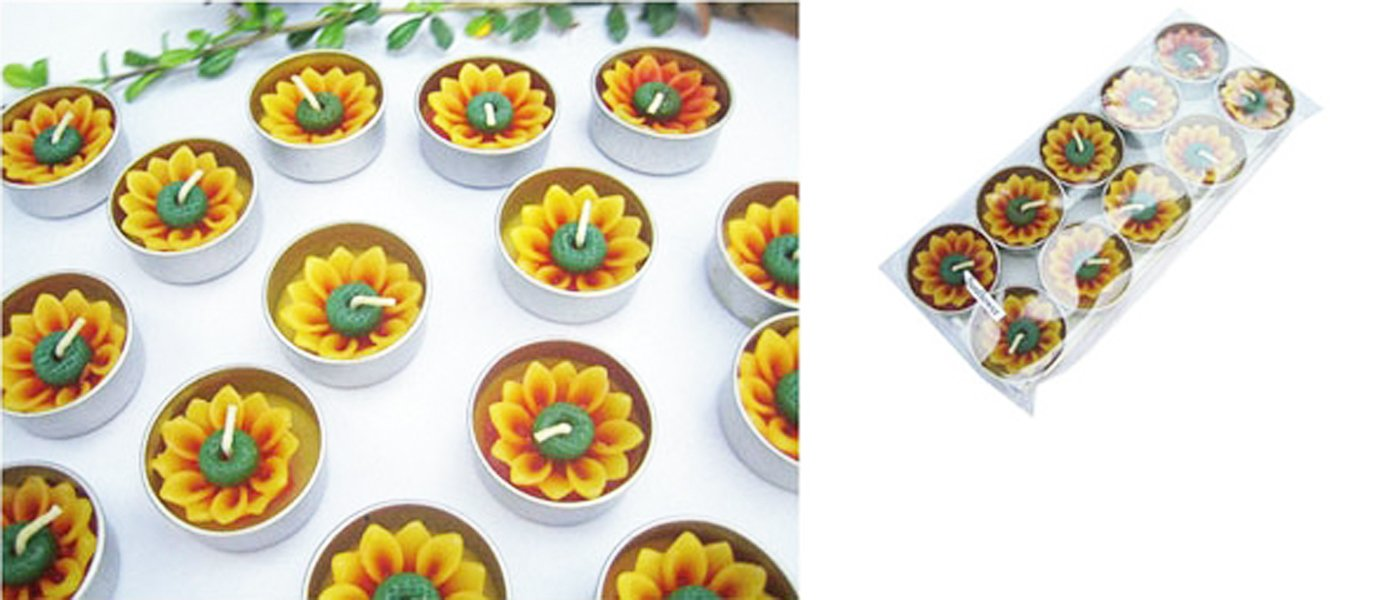 Thai Spa Candle , Relaxed Aroma Candle Sunflower in Tealight with Aluminium Grommet Holder Thai Product