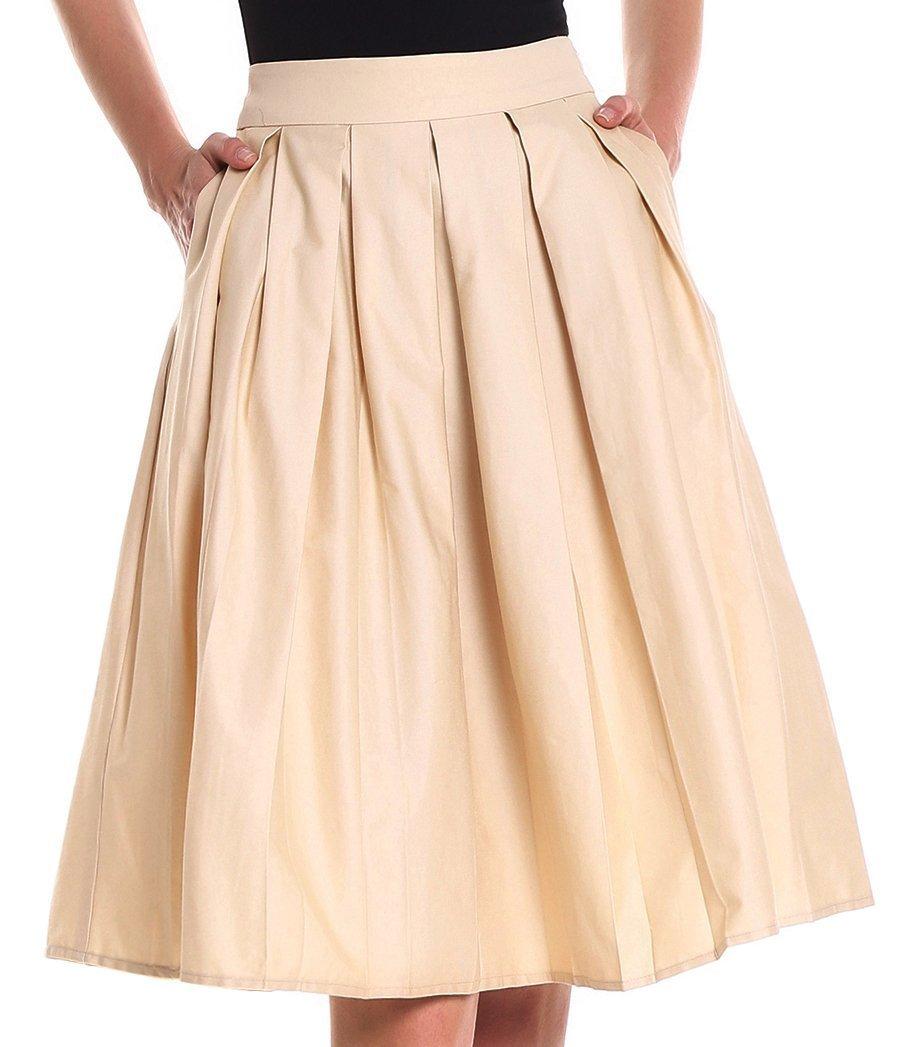 Yige Women's Vintage High Waist Flared Skirt Pleated Floral Print Midi Skirt Pocket Khaki-XL