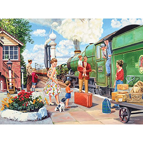 "Bits and Pieces - 300 Large Piece Jigsaw Puzzle for Adults - 18"" x 24"" Finished Size - The Train Driver - 300 pc All Aboard Jigsaw by Artist Trevor Mitchell"