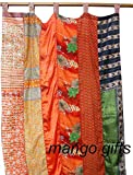 India Old Sari Multicolor Curtain Door Drape