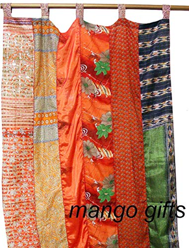 Mango Gifts India Old Sari Multicolor Curtain Door Drape (India Curtain Panels)