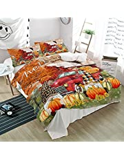 3 Pieces Bedding Set Fall Leaves Thanksgiving Farmhouse Barn Red Truck,Ultra Soft QuiltCoversandpillow shamsfor Bedroom Gnomes with Pumpkin,DuvetCoverSets All Seasons UseHome Decor