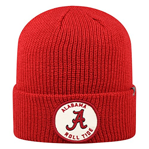 Top of the World Alabama Crimson Tide Official NCAA Cuffed Knit Wharf Beanie Stocking Stretch Sock Hat Cap 843810 (Alabama Beanie Hat)