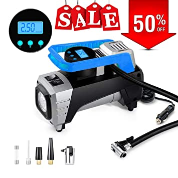 Sport Balls Etc Portable Tire Pump for Car Motorcycles Yimaler 12V 150 PSI Car Air Pump Digital Tire Inflator with Preset Pressure Auto Shut Off Gauge Bikes Air Compressor Pump Newest Blue