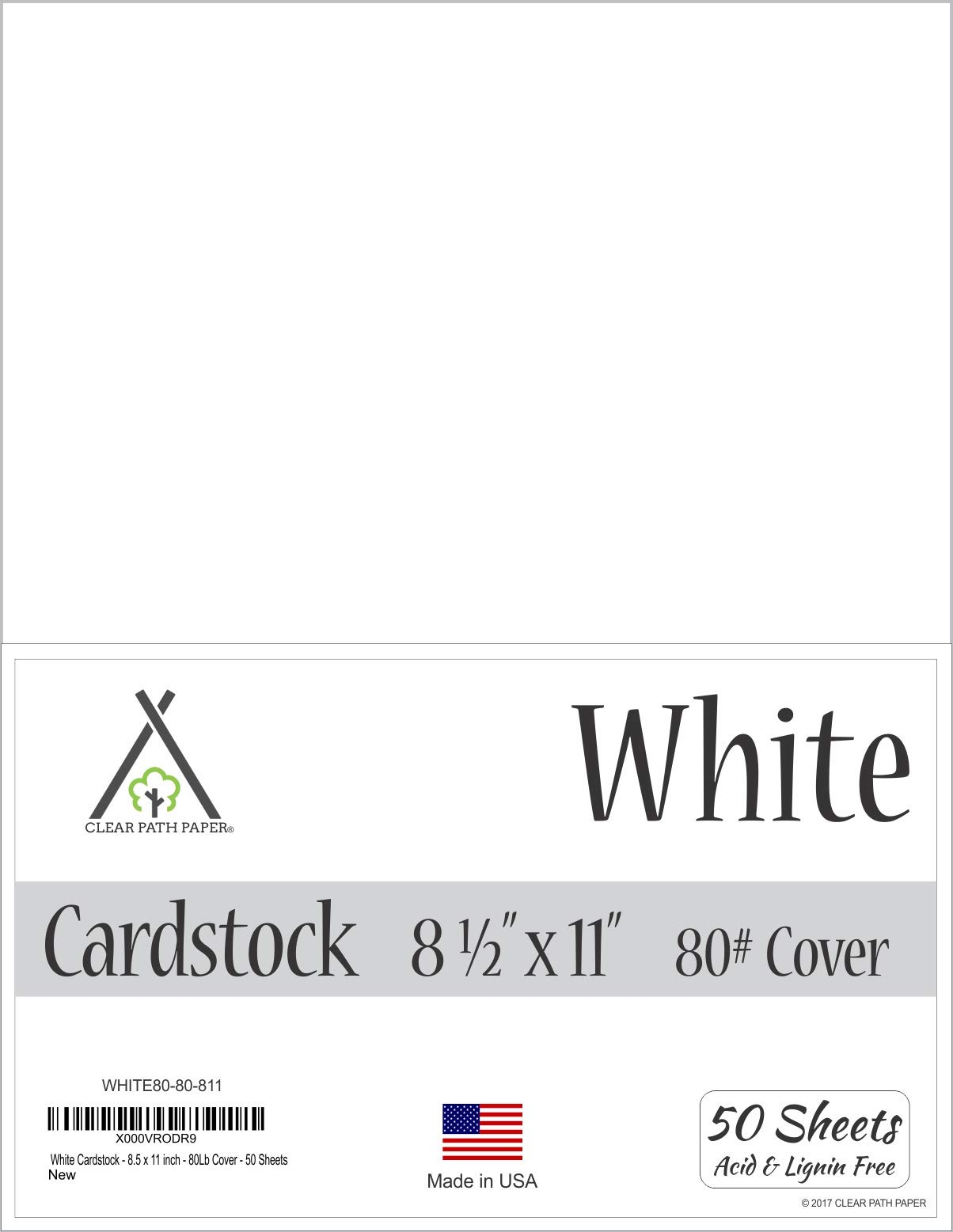 White Cardstock - 8.5 x 11 inch - 80Lb Cover - 50 Sheets