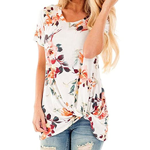 9ab9a1ed Image Unavailable. Image not available for. Color: iYYVV Women Summer Casual  Floral Printed Knot T-Shirt Short Sleeve Tops Blouse