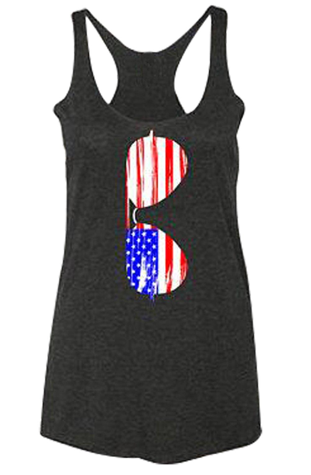 FAYALEQ American Flag Sunglasses Racerback Tank Tops Women's Sleeveless Shirt Tee Blouse Size XL (Black)