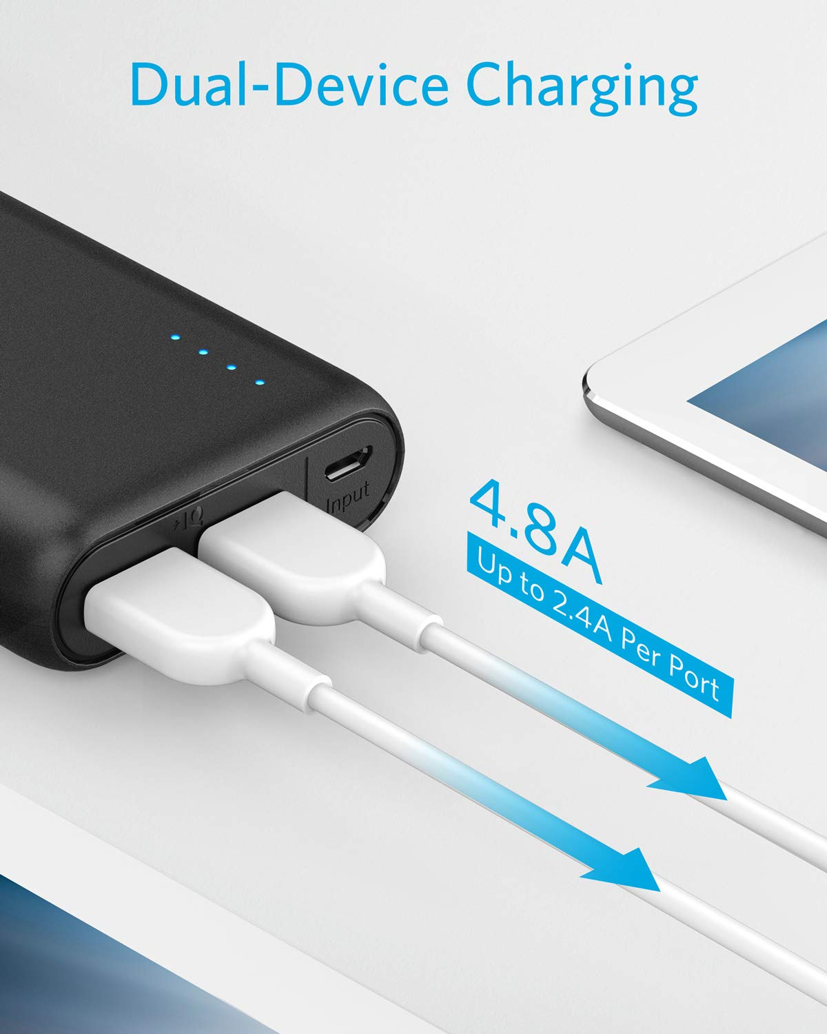 Portable Charger Anker PowerCore 20100mAh - Ultra High Capacity Power Bank with 4.8A Output, External Battery Pack for iPhone, iPad & Samsung Galaxy & More (Black) by Anker (Image #4)