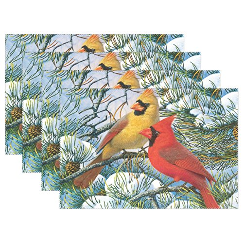 - LAVOVO Winter Cardinals Pattern Placemats Plate Holder 12