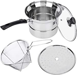 Household Stockpot, Stainless Steel Nonmagnetic Non-stick Stockpot Cookware Soup Pan Milk Heating Pot with Glass Lid