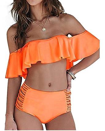 Huiyuzhi Sexy Women's Off Shoulder Swimsuit Two Piece Bikini Swimwear