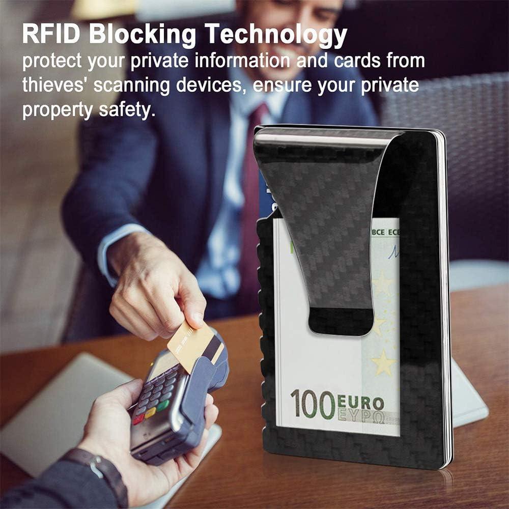 Senbos Porte Carte Carbone Blocage RFID Porte Carte de Cr/édit Mince Minimaliste Poche Avant Pince /à Billets Mini et Grande Capacit/é Design Portefeuille Homme