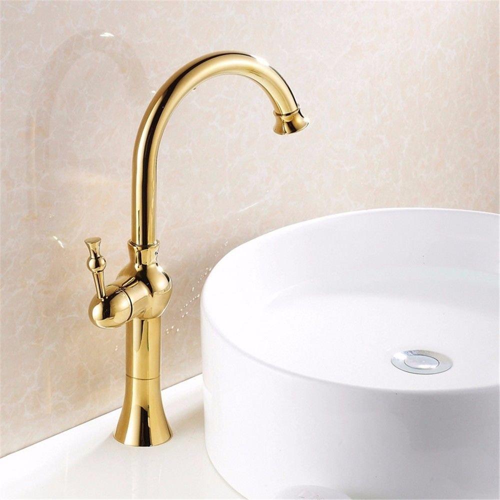 Hlluya Wasserhahn für Waschbecken Küche Die Gold Antik tippt auf Das Becken von warmen und kalten Wasserhahn, einzeln zu schalten Waschtischmischer voll Kupfer Sockel