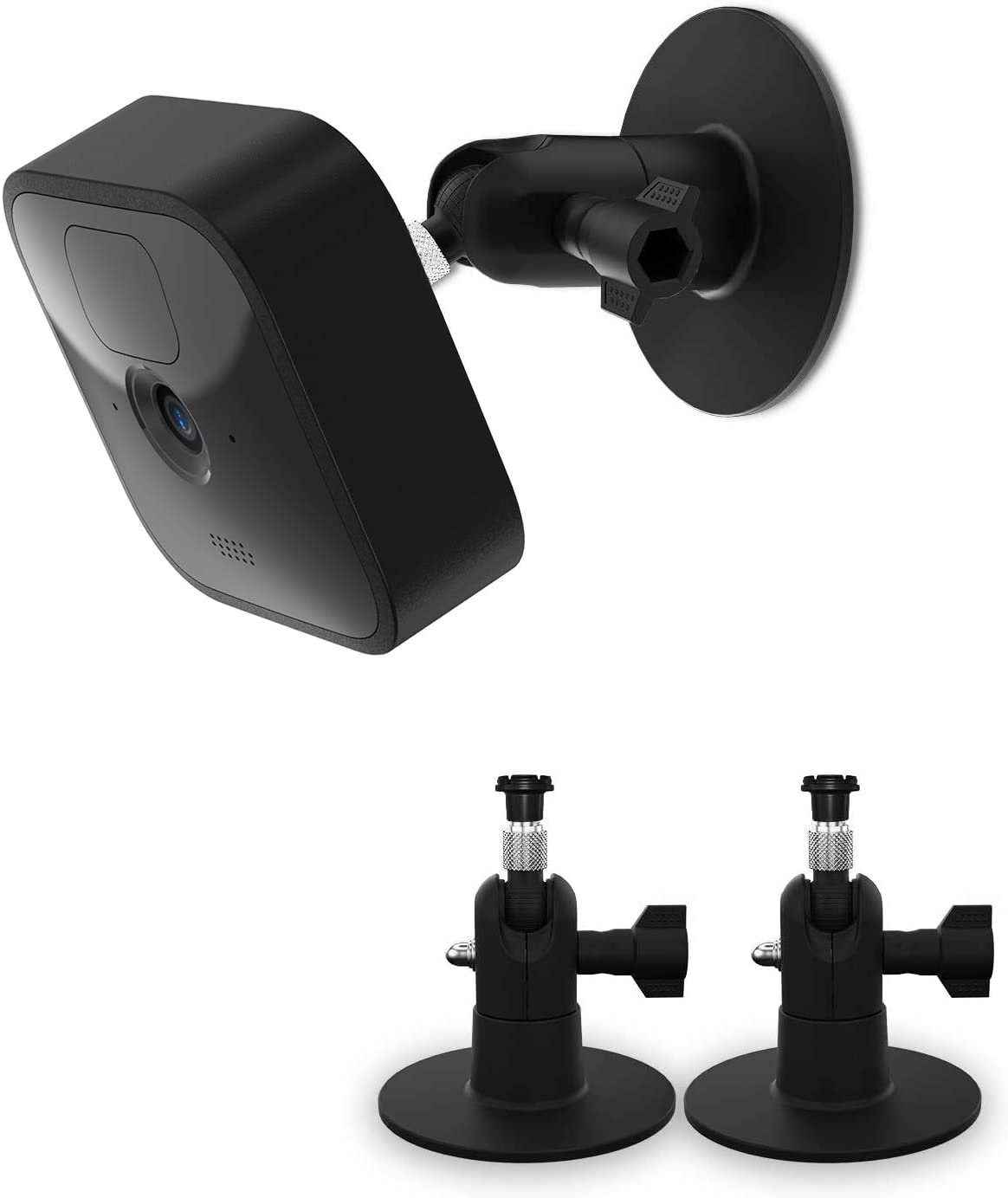 All-New Blink Outdoor Indoor Wall Mount,Wall Mount Kit for All-New Blink Outdoor Indoor Camera Without Screws and VHB Stick On - Easy to Install, Adheasive Mount (Black 2Pack)