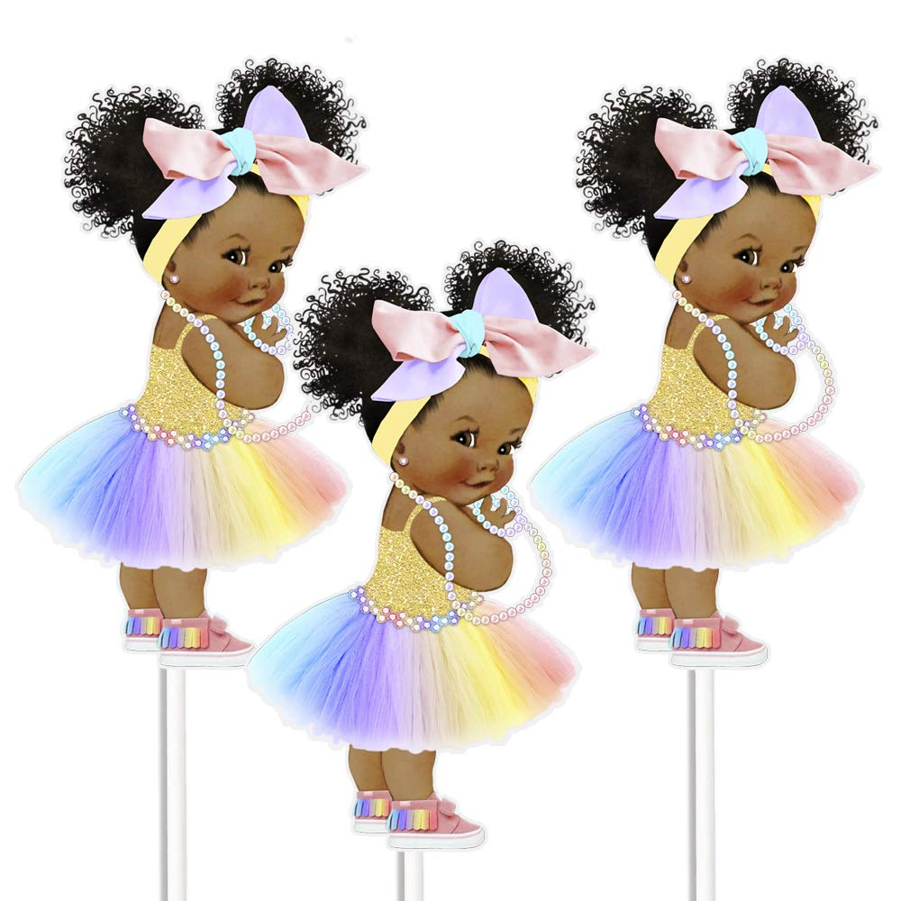 Rainbow African American Girl Centerpieces, Rainbow Table Party Decoration, Girl with Big Head Bow