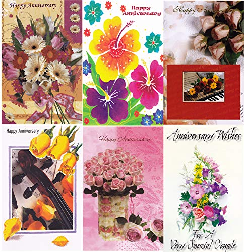 Assorted Happy Anniversary Greeting Cards in a Bulk 12 Pack