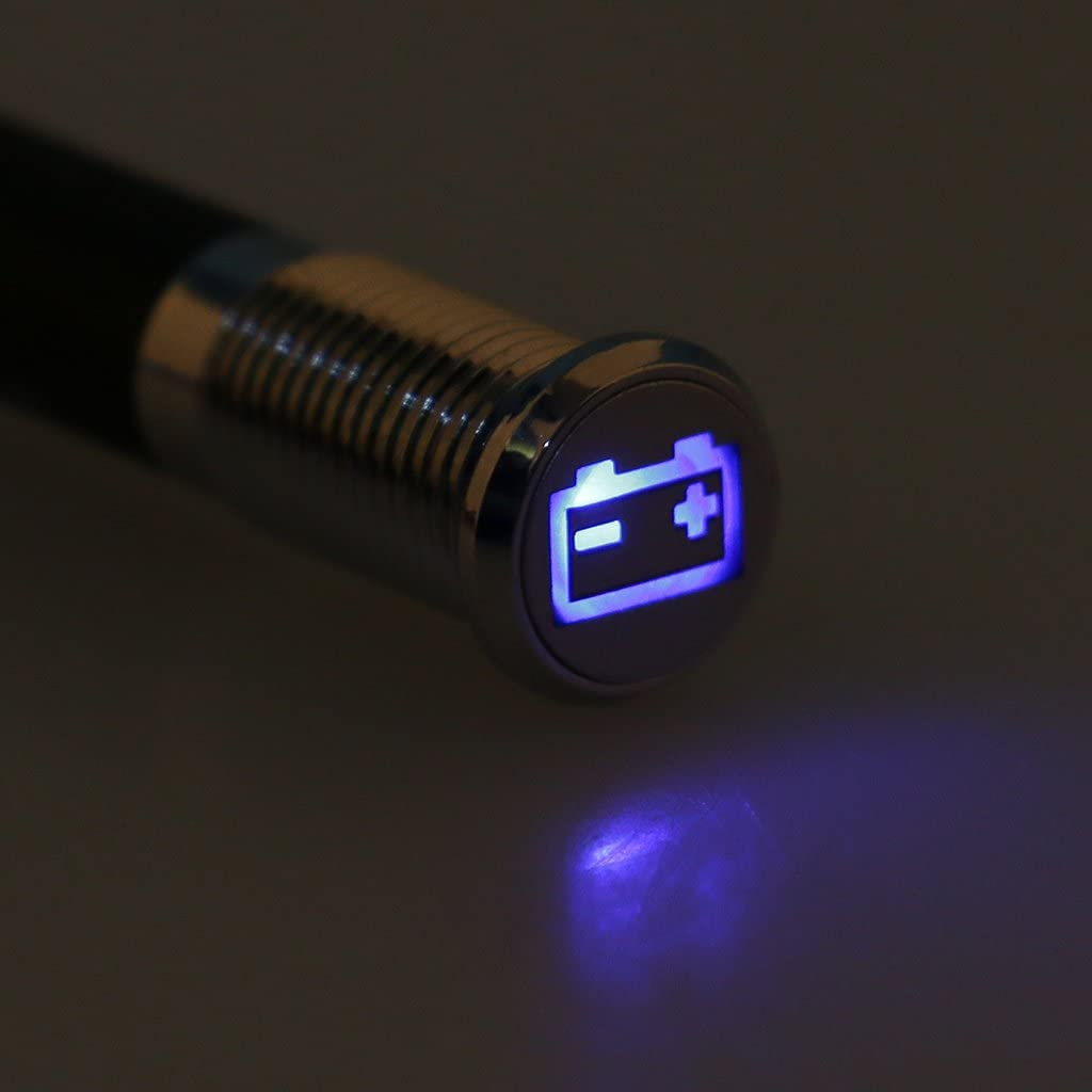 8mm Luz de Tablero 12V LED L/ámpara de Indicador Luminoso de Advertencia de Bater/ía para Auto Barco Azul