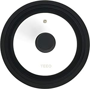 Universal Silicone Glass Lid Covers for Pots and Pans, Tempered Glass & Food Safe Silicone Rubber Rim, Cool-Touch Handle, Steam Vent, Dishwasher-Safe   Multi-Sized Lids (8/8.5/9.5 inches, Black)