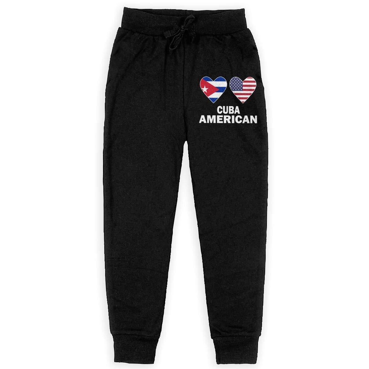WYZVK22 Cuba American Hearts Soft//Cozy Sweatpants Youth Fleece Pants for Teen Boy