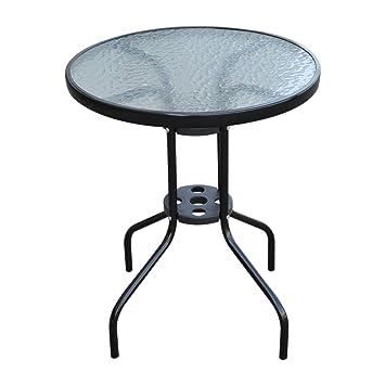 Outsunny Table de jardin ronde avec plateau en verre trempé noir ...