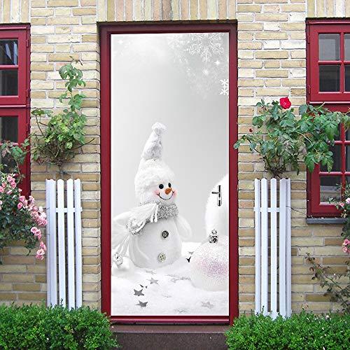 GridNN-Wall Sticker, Christmas Snowman Door Cover Cover Holiday Christmas Door Covers Decoration]()