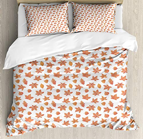 Ambesonne Leaves Duvet Cover Set King Size, Oak Poplar Beech Maple Aspen and Horse Chestnut Leaf Pattern, Decorative 3 Piece Bedding Set with 2 Pillow Shams, Dark Salmon Dark Peach ()