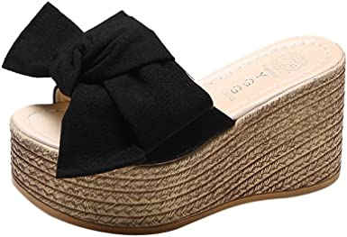 Women Summer Ladies Flatform Bow-Knot Padded Sole Peep Toe Wedge Sandals Shoes