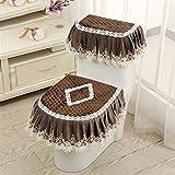 Wayer Toilet cushion,Luxury toilet seat cover 3 Pack set (Lid cover & Tank cover) Bathroom zipper super warm soft comfy -C