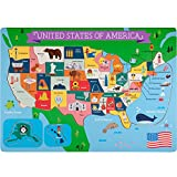 united states america - Professor Poplar's Fifty-Nifty States United States of America Wooden Jigsaw Puzzle Board, USA Map Puzzle with Lift & Learn Pieces (45 pcs.) by Imagination Generation
